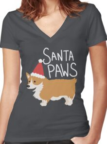 Holiday Corgi - Santa Paws - Puppy Women's Fitted V-Neck T-Shirt