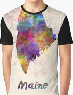 Maine US state in watercolor Graphic T-Shirt