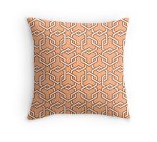 Peach Interlocked Hexagon Chains Throw Pillow
