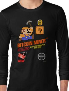 Bitcoin Geek Nintendo Gaming Funny Mario Mashup  Long Sleeve T-Shirt