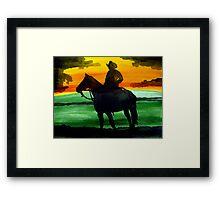 Sunset Cowboy Framed Print