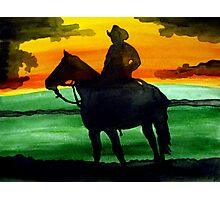Sunset Cowboy Photographic Print