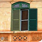 Green Shutters on Yellow Wall © by Ethna Gillespie