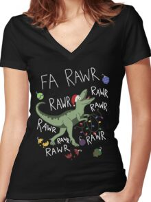 T-Rex Christmas Dinosaur - Dinosaur Christmas Women's Fitted V-Neck T-Shirt