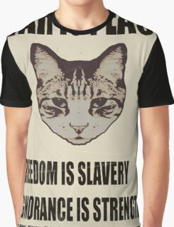Orwellian Cat Says War Is Peace Graphic T-Shirt
