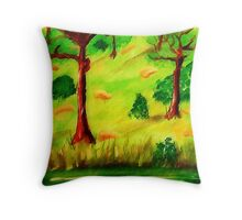 Green lazy day at pond, watercolor Throw Pillow