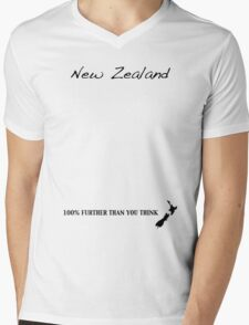 New Zealand - 100% Further Than You Think Mens V-Neck T-Shirt