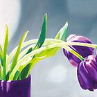 Purple Tulips I. - Oil painting by VargaZsuzsanna