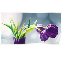 Purple Tulips I. - Oil painting Poster
