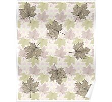 Autumn Fall Leaves Pastel Tones Poster