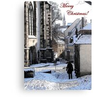 Christmas Card - Snow in Town Canvas Print