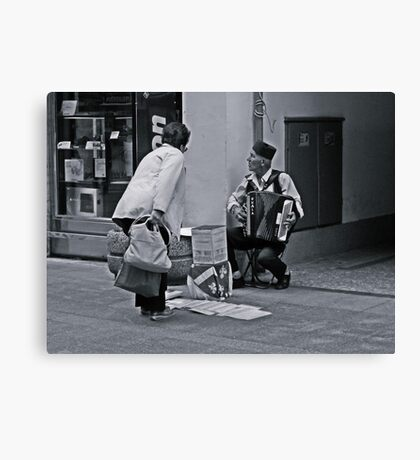 A street musician Canvas Print