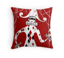 Retro vintage style harlequin clown Throw Pillow
