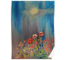 Moonlit Flowers Poster