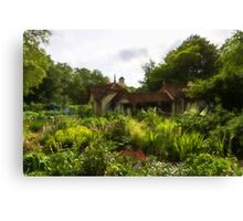 English Cottage Gardens - Summer Green in Watercolor Canvas Print