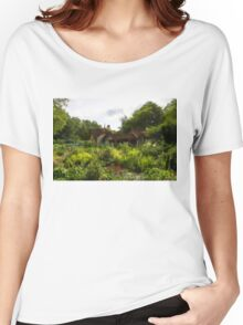English Cottage Gardens - Summer Green in Watercolor Women's Relaxed Fit T-Shirt