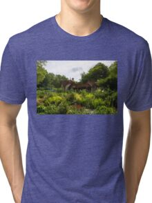 English Cottage Gardens - Summer Green in Watercolor Tri-blend T-Shirt