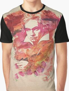 Ludwig van Beethoven Watercolor Remix  Graphic T-Shirt