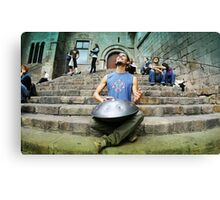 Musician Yogi playing Hang in Barcelona Canvas Print
