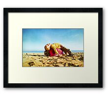 Kids in the beach, Barcelona Framed Print