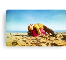 Kids in the beach, Barcelona Canvas Print
