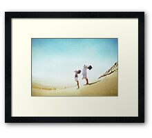 Yoginis praying in the Beach, Barcelona Framed Print