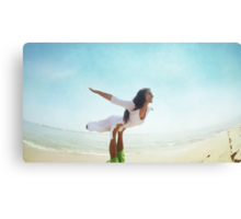 Acroyoga flying in the beach Canvas Print