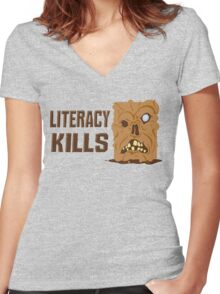 Literacy Kills Women's Fitted V-Neck T-Shirt
