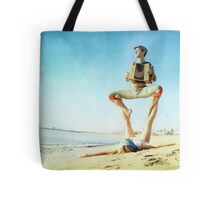 Acroyoga and music at the beach Tote Bag