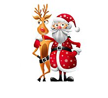 Santa and Rudolph deer Photographic Print
