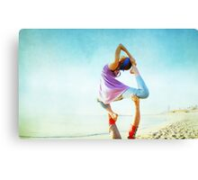 Acroyoga Flying Capotasana in the beach  Canvas Print
