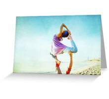 Acroyoga Flying Capotasana in the beach  Greeting Card