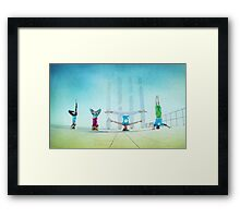 Headstand variations at Barcelona Framed Print