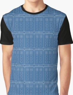 Doctor Who TARDIS Blueprint Pattern Graphic T-Shirt