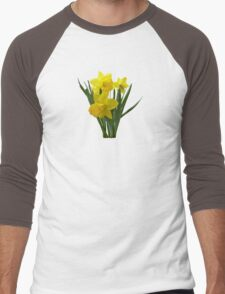 Three Daffodils Standing Guard Men's Baseball ¾ T-Shirt