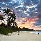 Tropical Caribbean White Sand Beach Paradise at Sunset by Dave Allen
