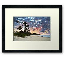 Tropical Caribbean White Sand Beach Paradise at Sunset Framed Print