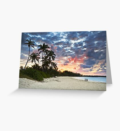 Tropical Caribbean White Sand Beach Paradise at Sunset Greeting Card