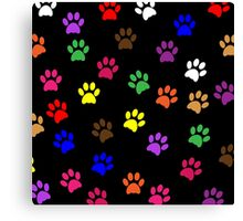 Paw Prints Colorful Background Canvas Print