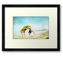 Full wheel with one hand in the beach Framed Print