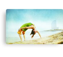 Full wheel with one hand in the beach Canvas Print