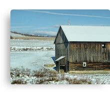The old barn in the snow Canvas Print