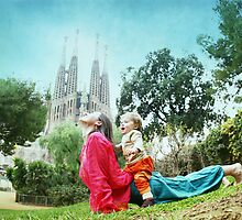 Upward dog with kid by Wari Om  Yoga Photography