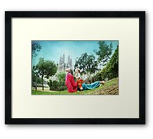 Upward dog with kid Framed Print