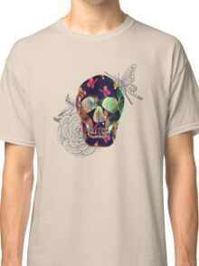 Colorful Hand Drawn Skull with Butterflies on Canvas Classic T-Shirt