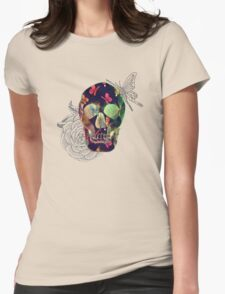 Colorful Hand Drawn Skull with Butterflies on Canvas T-Shirt