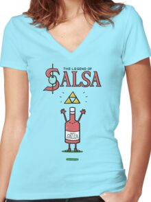 The Legend of Salsa Women's Fitted V-Neck T-Shirt