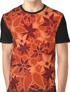 Orange Vintage Trendy Floral Pattern Graphic T-Shirt