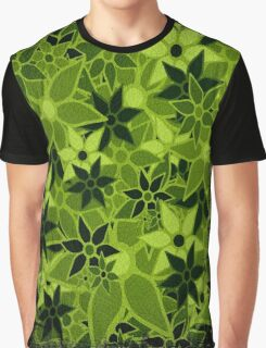 Green Vintage Trendy Floral Pattern Graphic T-Shirt