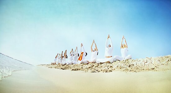 Yoga practice at the beach by Wari Om  Yoga Photography